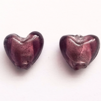 20 Amethyst Silver Foiled Glass 12mm Heart Beads